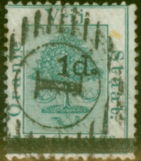 Rare Postage Stamp from O.F.S 1881 1d on 5s Green SG22 Type b Fine Used