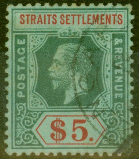 Rare Postage Stamp from Straits Settlements 1912 $5 White Back SG212 V.F.U