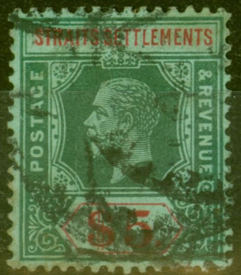 Valuable Postage Stamp from Straits Settlements 1915 $5 Green & Red-Green SG212a Good Used