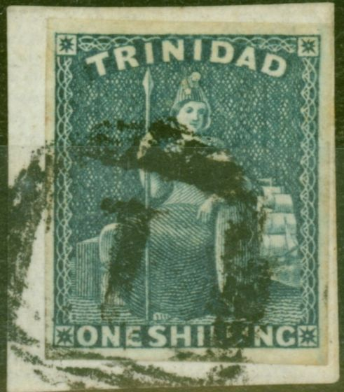 Rare Postage Stamp from Trinidad 1859 1s Indigo SG29 Fine Used on Piece with Royal Certificate