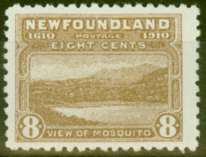 Old Postage Stamp from Newfoundland 1910 8c Bistre Brown SG101 Fine Mtd Mint