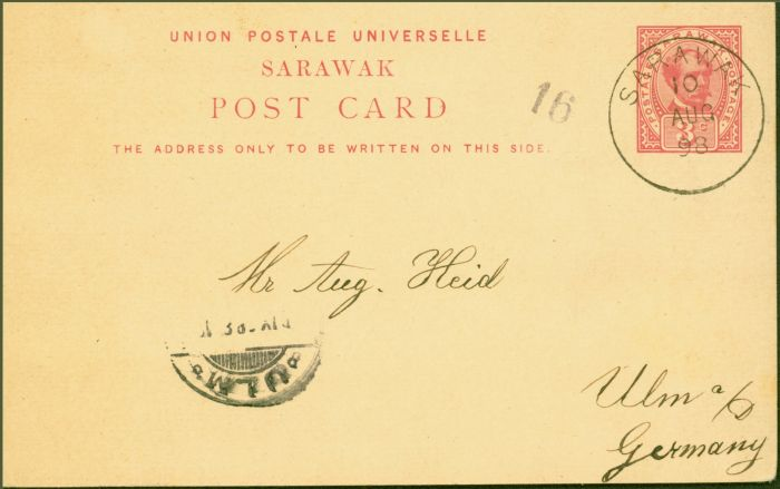Collectible Postage Stamp from Sarawak 1898 3c Pre-Paid Postcard to Germany Fine & Attractive