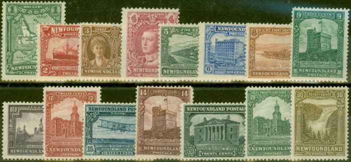 Collectible Postage Stamp from Newfoundland 1928-29 Publicity set of 15 SG164-178 Fine MNH