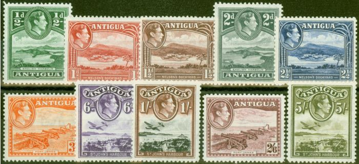 Collectible Postage Stamp from Antigua 1938 set of 10 to 5s SG98-107 V.F Very Lightly Mtd Mint