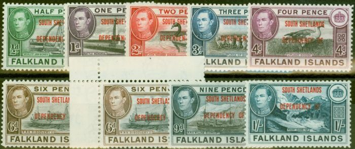 Old Postage Stamp from South Shetland 1944-45 set of 9 SGD1-D8 Both 6d`s V.F Very Lightly Mtd Mint