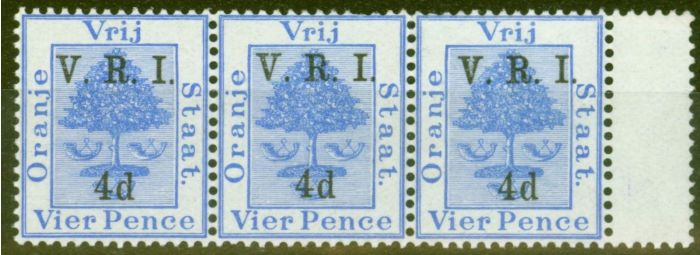 Old Postage Stamp from Orange Free State 1900 4d on 4d Ultramarine SG107 V.F MNH & LMM Strip of 3