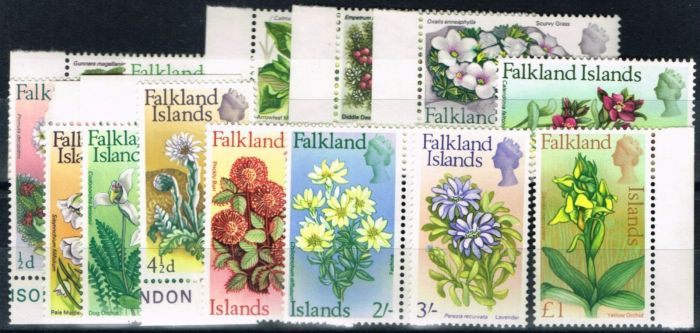 Valuable Postage Stamp from Falkland Is 1968 Flowers set of 14 SG232-245 V.F MNH Mostly Marginal examples