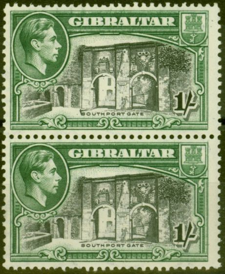 Collectible Postage Stamp from Gibraltar 1942 1s Black & Green SG127bvar Vertical Line before Southport Fine MNH Pair