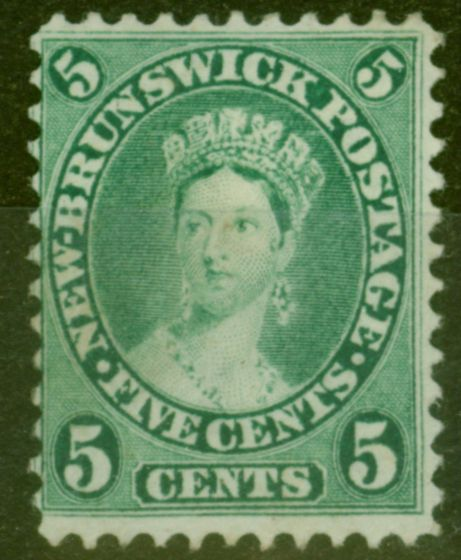 Collectible Postage Stamp from New Brunswick 1860 5c Dp Green SG15 Fine & Fresh Mtd Mint