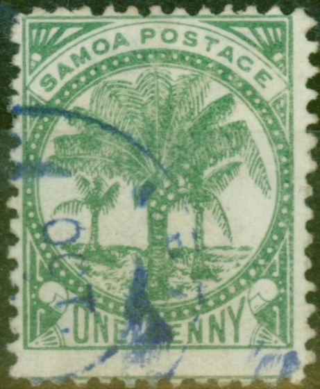 Old Postage Stamp from Samoa 1886 1d Yellow-Green SG22 P.12.5 Fine Used