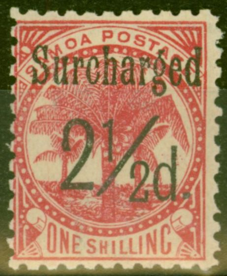 Valuable Postage Stamp from Samoa 1898 2 1/2d on 1s Dull Rose-Carmine SG86 Fine Mtd Mint (17)