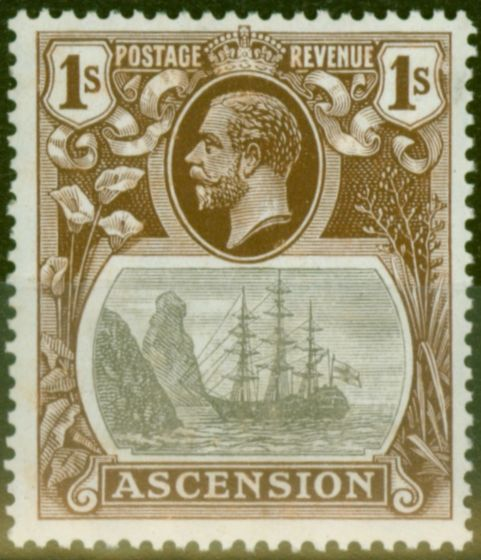 Rare Postage Stamp from Ascension 1924 1s Grey-Black & Brown SG18a Broken Mainmast V.F Very Lightly Mtd Mint