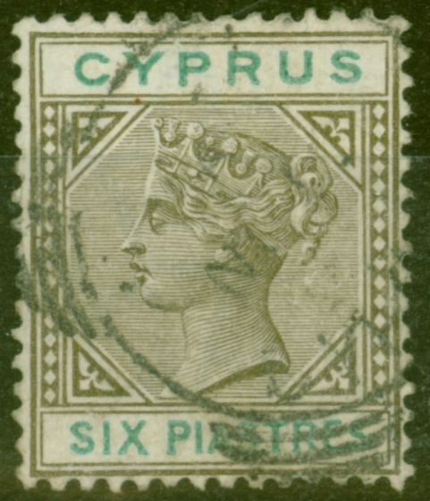 Collectible Postage Stamp from Cyprus 1896 6pi Sepia & Green SG45 Fine Used