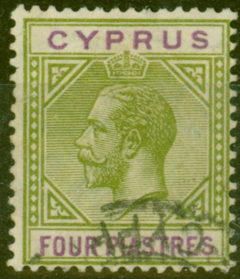 Old Postage Stamp from Cyprus 1921 4pi Olive-Green & Purple SG95 Fine Used