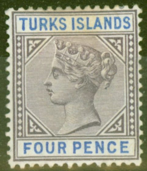 Old Postage Stamp from Turks & Caicos Is 1895 4d Dull Purple & Ultramarine SG71 Fine Mtd Mint