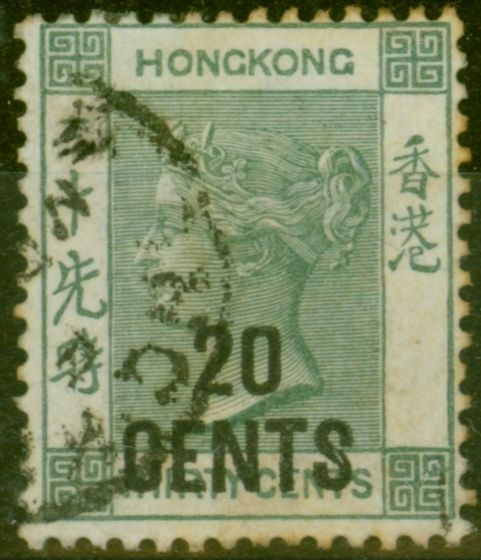 Rare Postage Stamp from Hong Kong 1891 20c on 30c Grey-Green SG45a Good Used