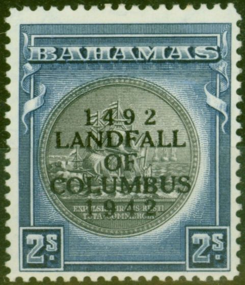 Valuable Postage Stamp from Bahamas 1942 2s Brownish Black & Steel Blue SG172b Fine Lightly Mtd Mint