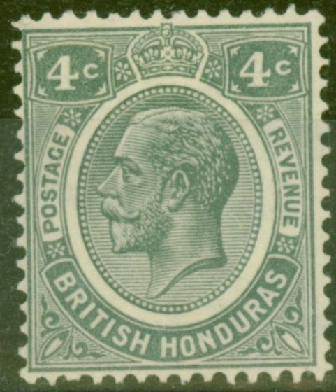 Old Postage Stamp from British Honduras 1929 4c Grey SG130 Fine Lightly Mtd Mint