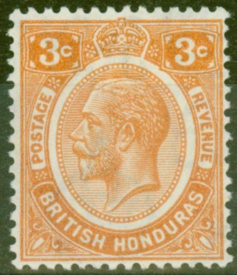 Collectible Postage Stamp from British Honduras 1933 3c Orange SG129 Fine Mtd Mint