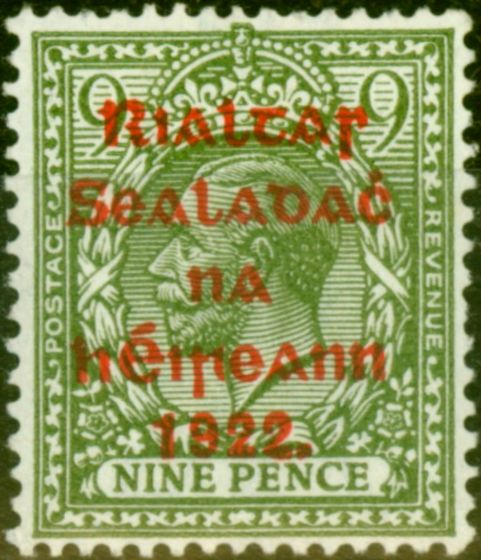 Valuable Postage Stamp from Ireland 1922 9d Olive-Green SG41 Fine Mtd Mint