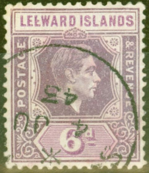 Valuable Postage Stamp from Leeward Islands 1942 6d Dp Purple & Brt Purple SG109ab Broken E Variety V.F.U