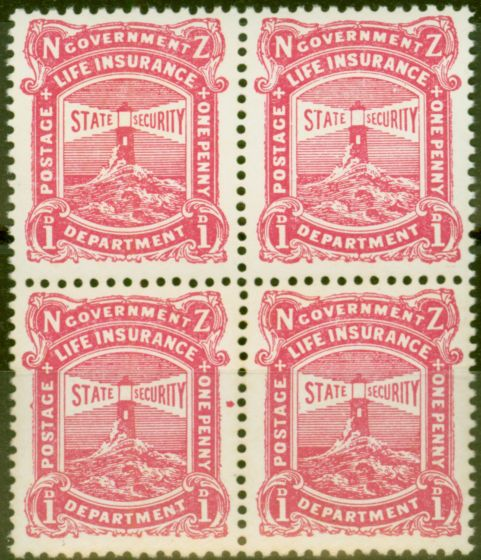 Rare Postage Stamp from New Zealand 1925 1d Carmine-Pink SGL31b Var Red Dot by E of One Fine MNH Block of 4