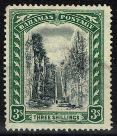 Collectible Postage Stamp from Bahamas 1924 3s Black & Green SG114 Fine Lightly Used