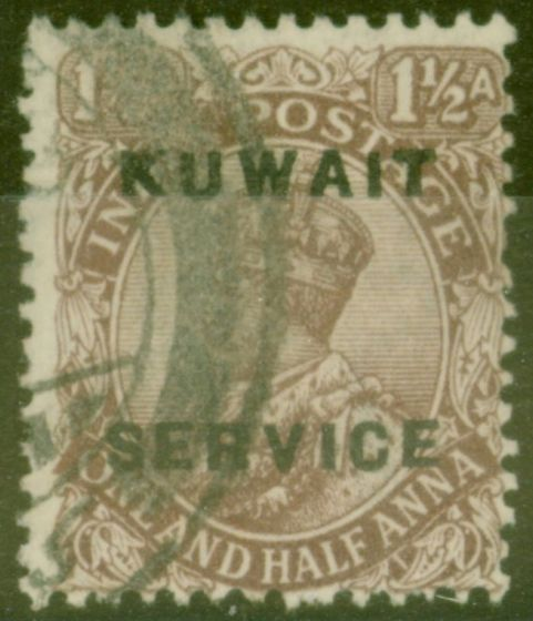 Valuable Postage Stamp from Kuwait 1923 1 1/2a Chocolate SG03 Fine Used