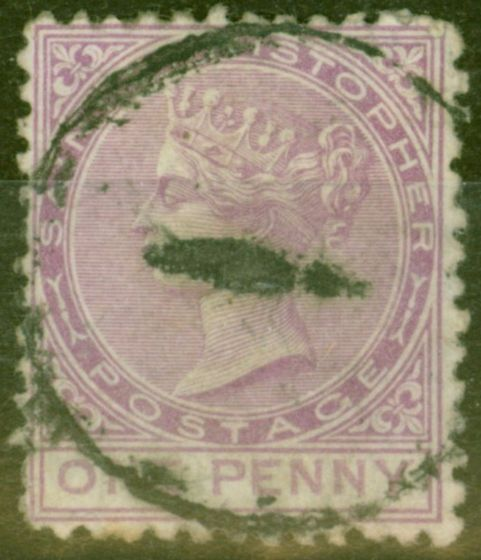 Valuable Postage Stamp from St Christopher 1871 1d Magenta SG2 Fine Used.