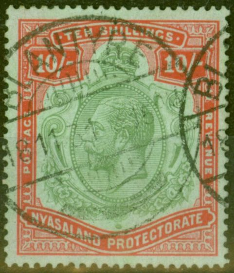 Old Postage Stamp from Nyasaland 1926 10s Grn & Red-Pale Emerald SG113c Nick in Top Right Scroll Scarce