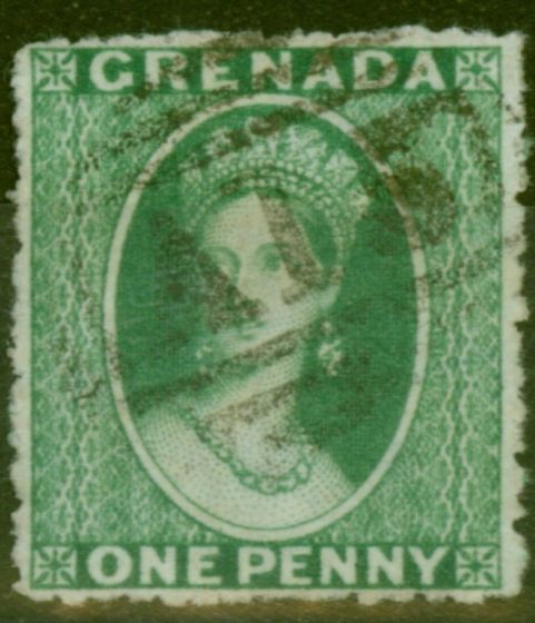 Old Postage Stamp from Grenada 1873 1d Dp Green SG10 Fine Used