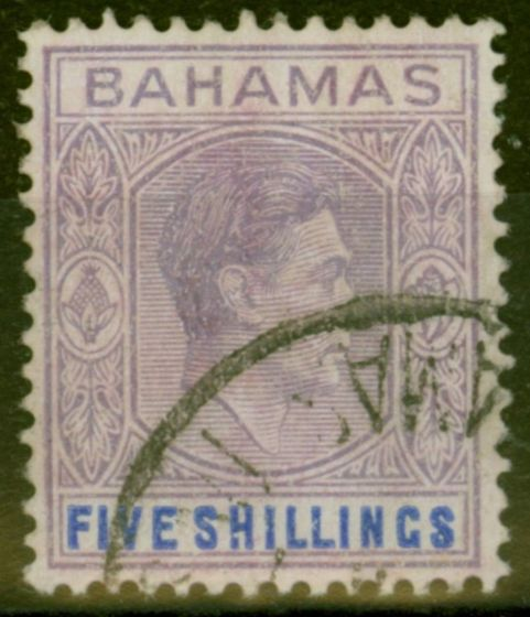 Collectible Postage Stamp from Bahamas 1946 5s Dull Mauve & Dp Blue SG156c Fine Used