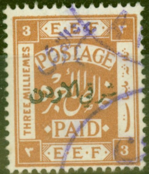 Valuable Postage Stamp from Transjordan 1922 5/10p on 3m Yellow-Brown SG22d Violet Surcharge V.F.U
