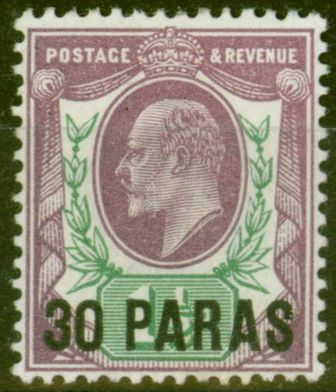Collectible Postage Stamp from British Levant 1909 30pa on 1 1/2d Pale Dull Purple & Green SG16 Fine & Fresh LMM