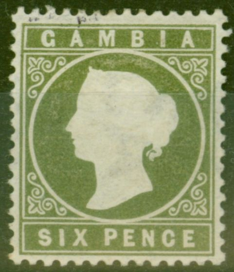 Rare Postage Stamp from Gambia 1887 6d Olive-Green SG32d Fine Mtd Mint