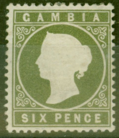 Valuable Postage Stamp from Gambia 1889 6d Bronze Green SG33 Fine Mtd Mint