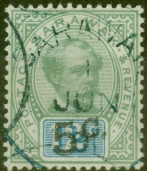 Valuable Postage Stamp from Sarawak 1891 5c on 12c Green & Blue SG26c Surch Double Fine Used Scarce