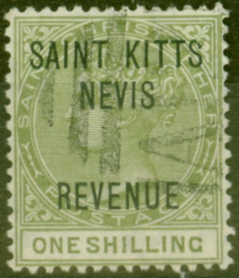 Valuable Postage Stamp from St Kitts & Nevis 1885 1s Olive SGR6 Fine Used