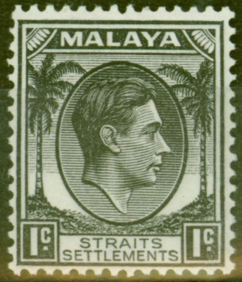 Old Postage Stamp from Straits Settlements 1938 1c Black SG278 Fine Lightly Mtd Mint