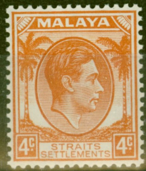 Rare Postage Stamp from Straits Settlements 1938 4c Orange SG280 Fine Lightly Mtd Mint