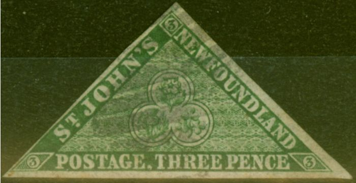 Valuable Postage Stamp from Newfoundland 1860 3d Dp Green SG11 Fine Used