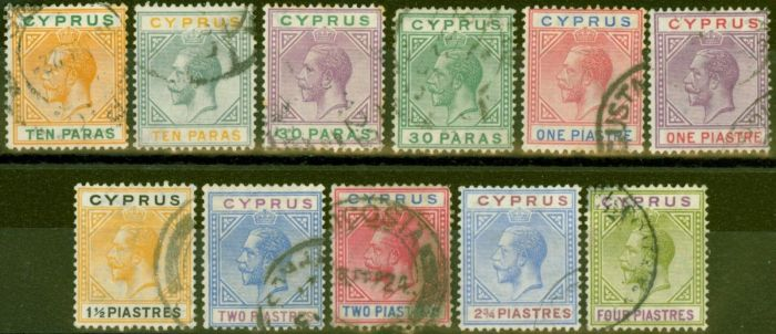 Valuable Postage Stamp from Cyprus 1921-23 set of 11 to 4pi SG85-95 Fine Used