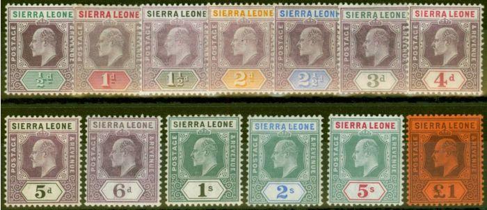 Old Postage Stamp from Sierra Leone 1904-05 set of 13 SG86-98 Fine & Fresh Lightly Mtd Mint