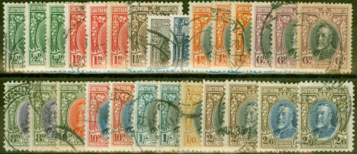 Old Postage Stamp from Southern Rhodesia 1931-37 Extended set of 27 to 2s6d SG15-26a All Perfs Fine Used CV £550+