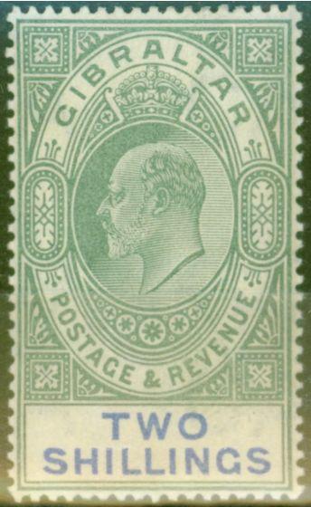 Old Postage Stamp from Gibraltar 1903 2s Green & Blue SG52 Fine & Fresh Lightly Mtd Mint (6)