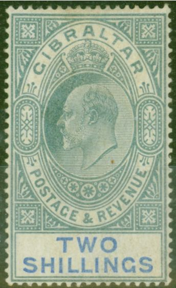 Old Postage Stamp from Gibraltar 1903 2s Green & Blue SG52 Good Mtd Mint (2)