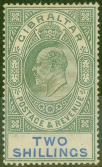 Collectible Postage Stamp from Gibraltar 1903 2s Green & Blue SG52 Good Mtd Mint