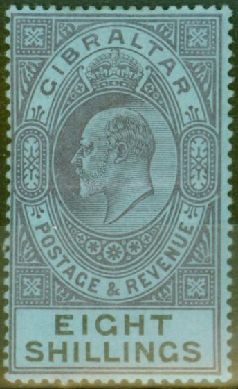 Old Postage Stamp from Gibraltar 1903 8s Dull Purple & Black-Blue SG54 Fine Mtd Mint