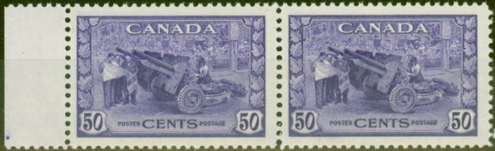 Rare Postage Stamp from Canada 1942 50c Violet SG387 V.F MNH Pair