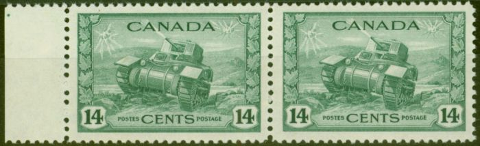 Valuable Postage Stamp from Canada 1943 14c Dull Green SG385 V.F MNH Pair